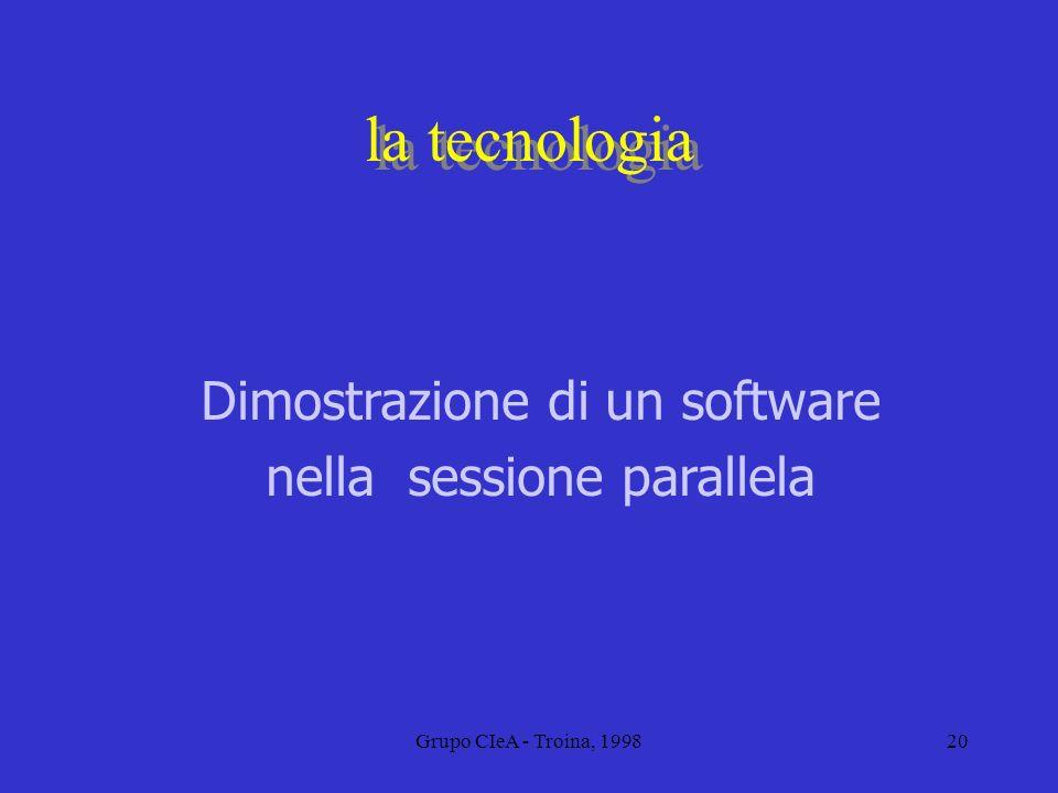 Grupo CIeA - Troina, 199820 la tecnologia Dimostrazione di un software nella sessione parallela
