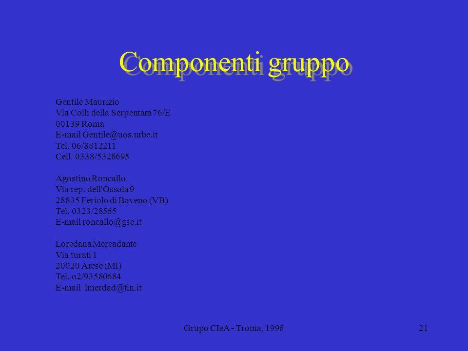Grupo CIeA - Troina, 199821 Componenti gruppo Gentile Maurizio Via Colli della Serpentara 76/E 00139 Roma E-mail Gentile@uos.urbe.it Tel. 06/8812211 C