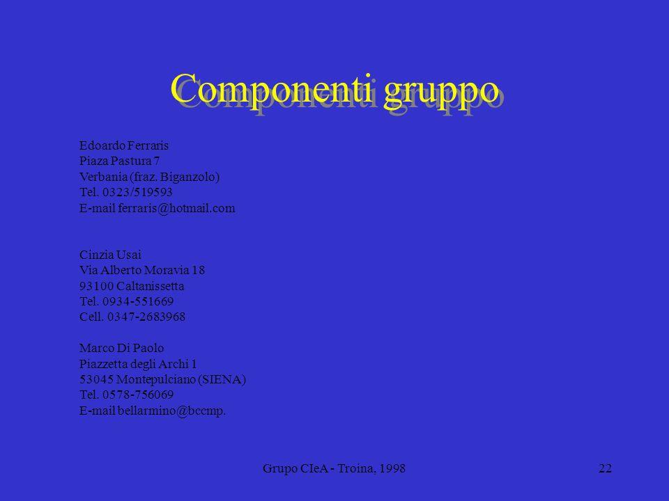 Grupo CIeA - Troina, 199822 Componenti gruppo Edoardo Ferraris Piaza Pastura 7 Verbania (fraz. Biganzolo) Tel. 0323/519593 E-mail ferraris@hotmail.com