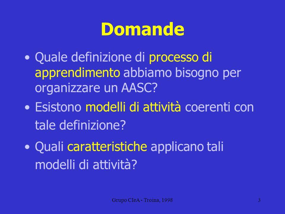Grupo CIeA - Troina, 19984 Definizione Lapprendimento è un processo di costruzione della conoscenza È costruttivo, auto-regolato, finalizzato, situato, collaborativo e differenziato individualmente