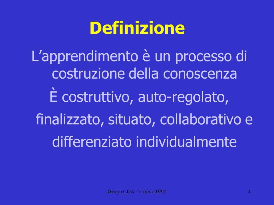 Grupo CIeA - Troina, 19984 Definizione Lapprendimento è un processo di costruzione della conoscenza È costruttivo, auto-regolato, finalizzato, situato