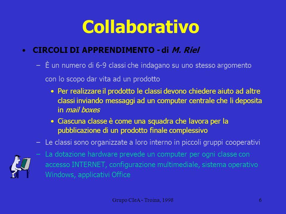 Grupo CIeA - Troina, 19986 Collaborativo CIRCOLI DI APPRENDIMENTO - di M. Riel –È un numero di 6-9 classi che indagano su uno stesso argomento con lo