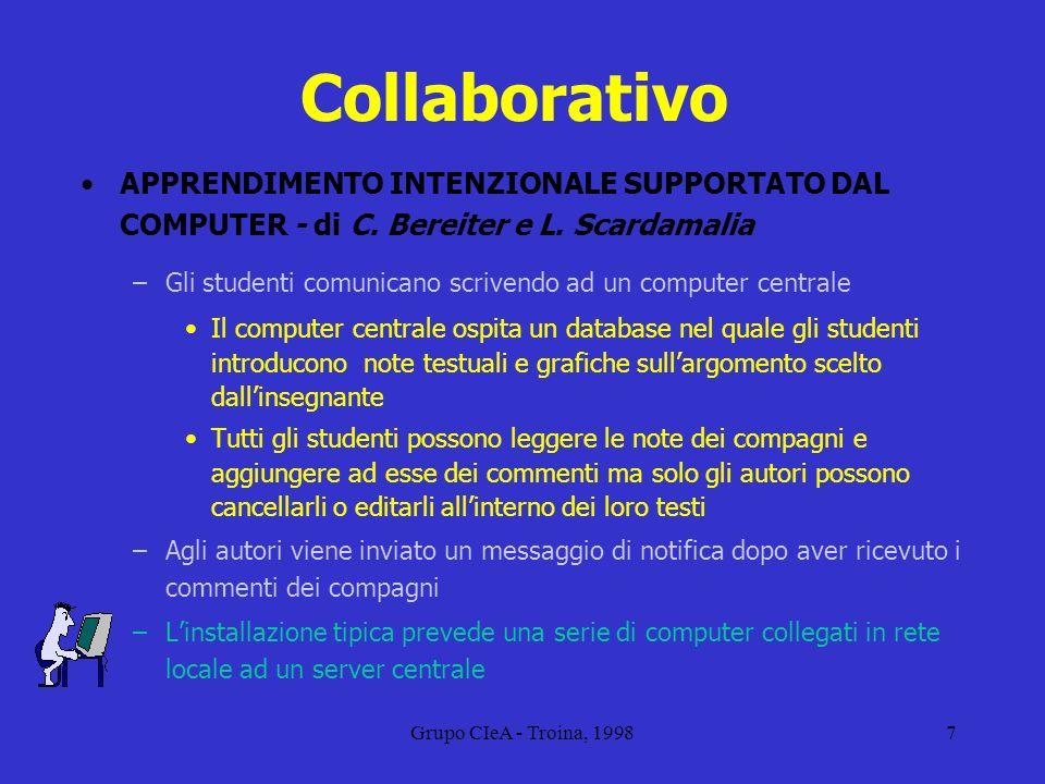 Grupo CIeA - Troina, 19987 Collaborativo APPRENDIMENTO INTENZIONALE SUPPORTATO DAL COMPUTER - di C. Bereiter e L. Scardamalia –Gli studenti comunicano