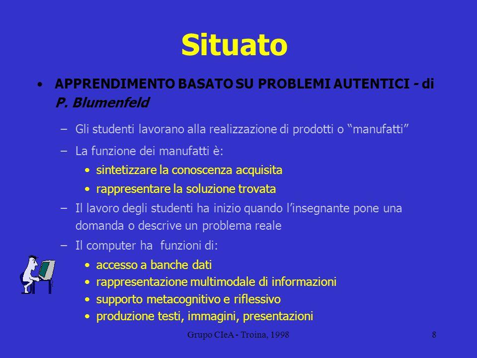 Grupo CIeA - Troina, 19988 Situato APPRENDIMENTO BASATO SU PROBLEMI AUTENTICI - di P. Blumenfeld –Gli studenti lavorano alla realizzazione di prodotti