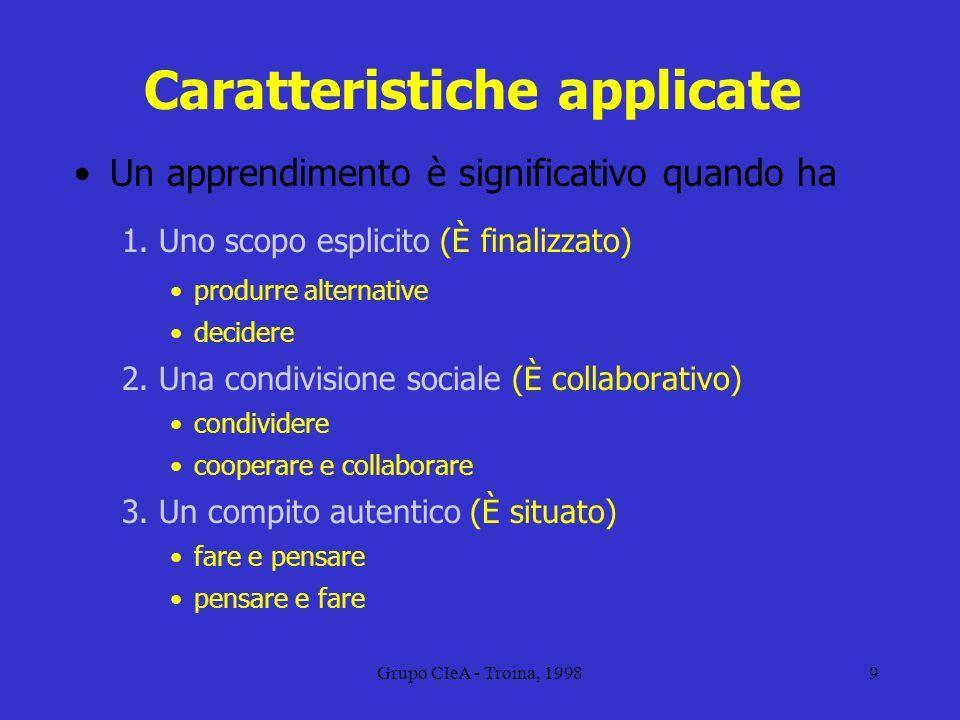 Grupo CIeA - Troina, 19989 Caratteristiche applicate Un apprendimento è significativo quando ha 1. Uno scopo esplicito (È finalizzato) produrre altern