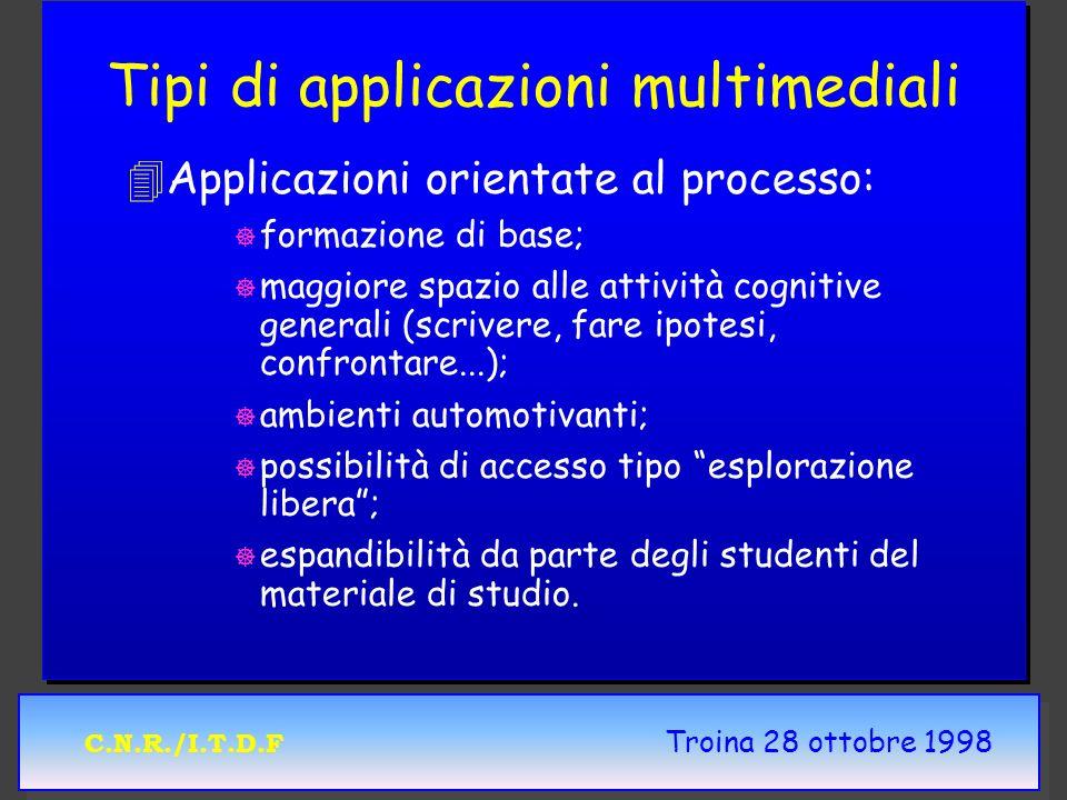 C.N.R./I.T.D.F Troina 28 ottobre 1998 Tipi di applicazioni multimediali 4 4Applicazioni orientate al processo: ] ] formazione di base; ] ] maggiore sp
