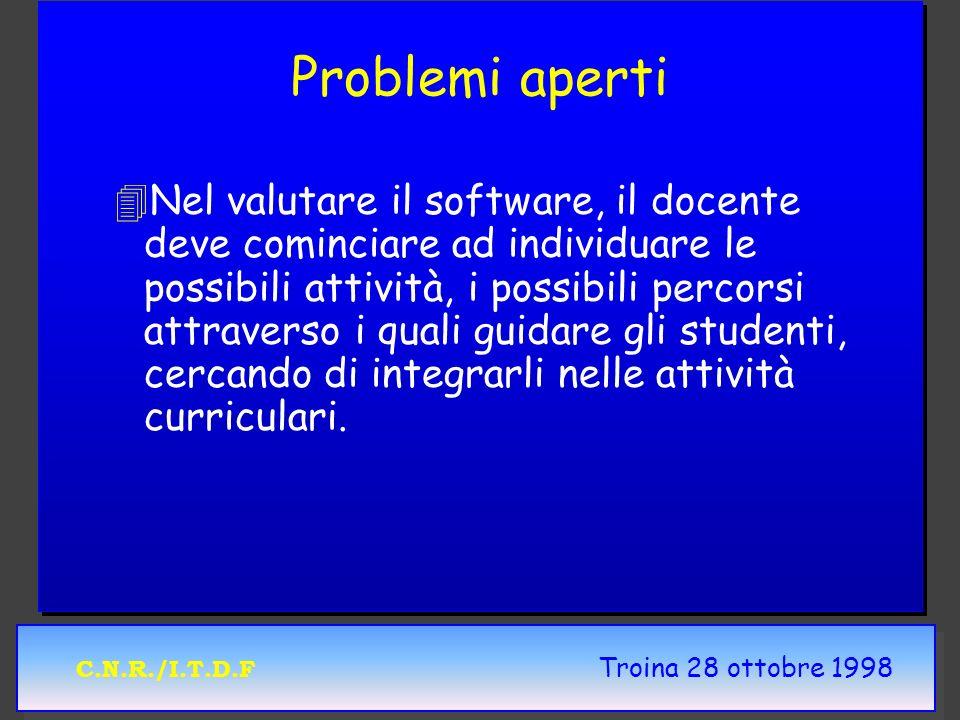 C.N.R./I.T.D.F Troina 28 ottobre 1998 Problemi aperti 4 4Nel valutare il software, il docente deve cominciare ad individuare le possibili attività, i