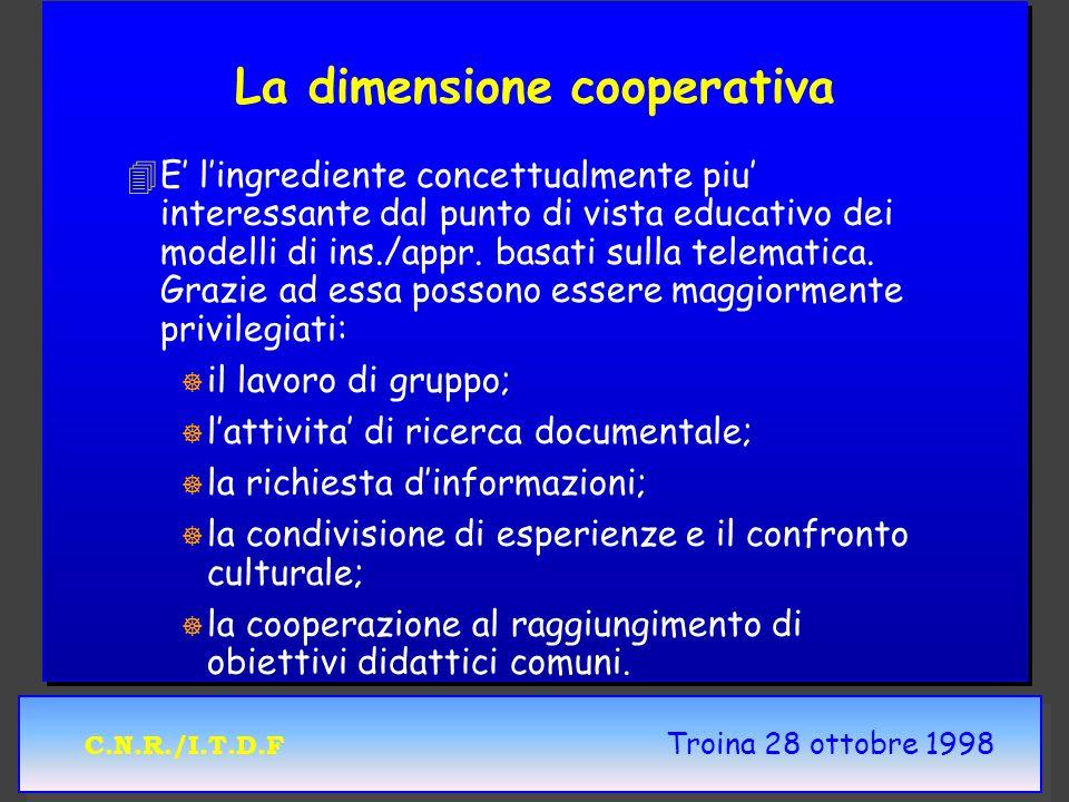 C.N.R./I.T.D.F Troina 28 ottobre 1998 La dimensione cooperativa 4 4E lingrediente concettualmente piu interessante dal punto di vista educativo dei modelli di ins./appr.