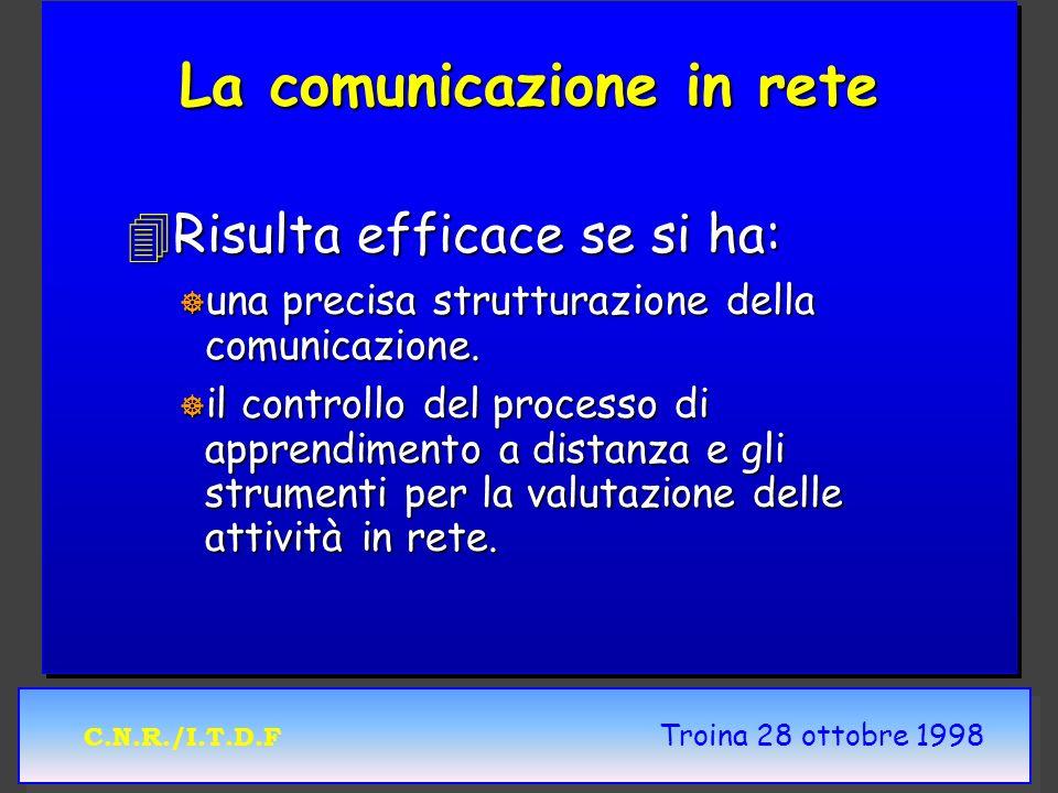 C.N.R./I.T.D.F Troina 28 ottobre 1998 La comunicazione in rete 4Risulta efficace se si ha: ] una precisa strutturazione della comunicazione. ] il cont