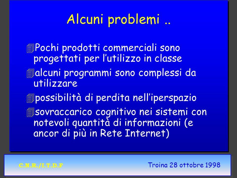 C.N.R./I.T.D.F Troina 28 ottobre 1998 Alcuni problemi.. 4 4Pochi prodotti commerciali sono progettati per lutilizzo in classe 4 4alcuni programmi sono