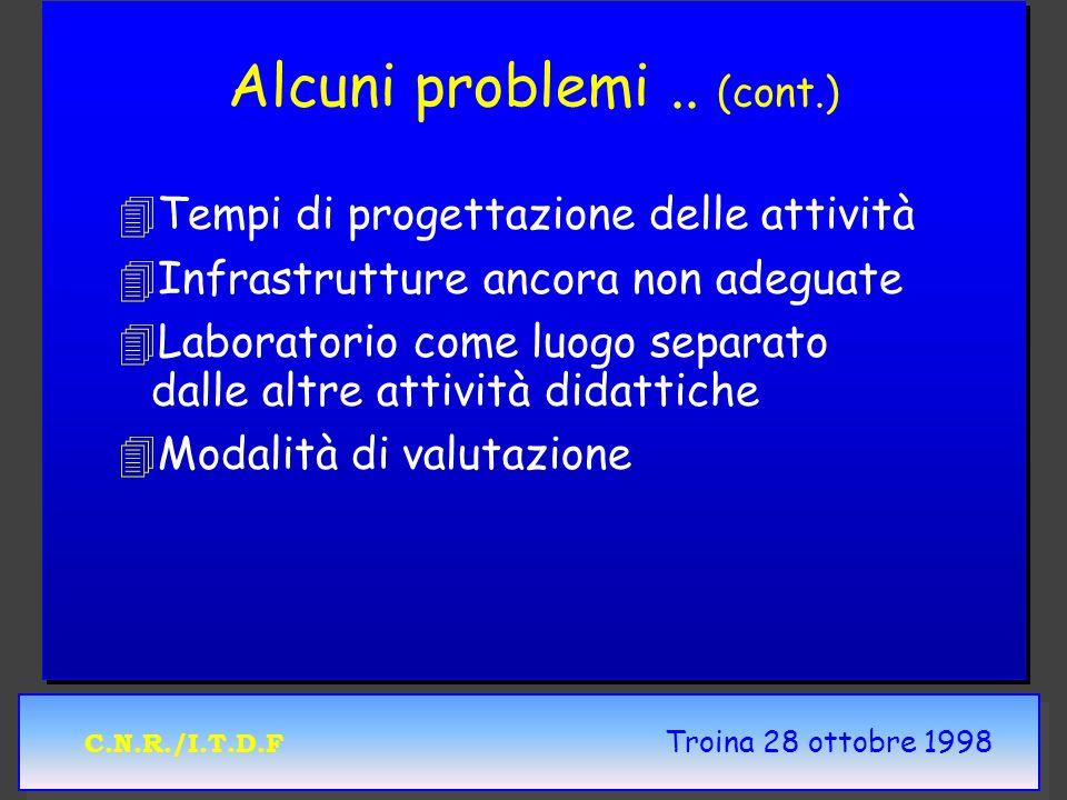 C.N.R./I.T.D.F Troina 28 ottobre 1998 Alcuni problemi.. (cont.) 4 4Tempi di progettazione delle attività 4 4Infrastrutture ancora non adeguate 4 4Labo