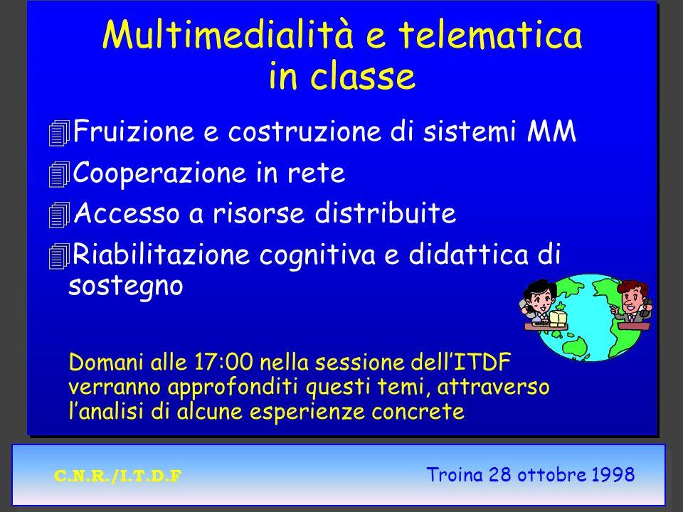 C.N.R./I.T.D.F Troina 28 ottobre 1998 Multimedialità e telematica in classe 4 4Fruizione e costruzione di sistemi MM 4 4Cooperazione in rete 4 4Access