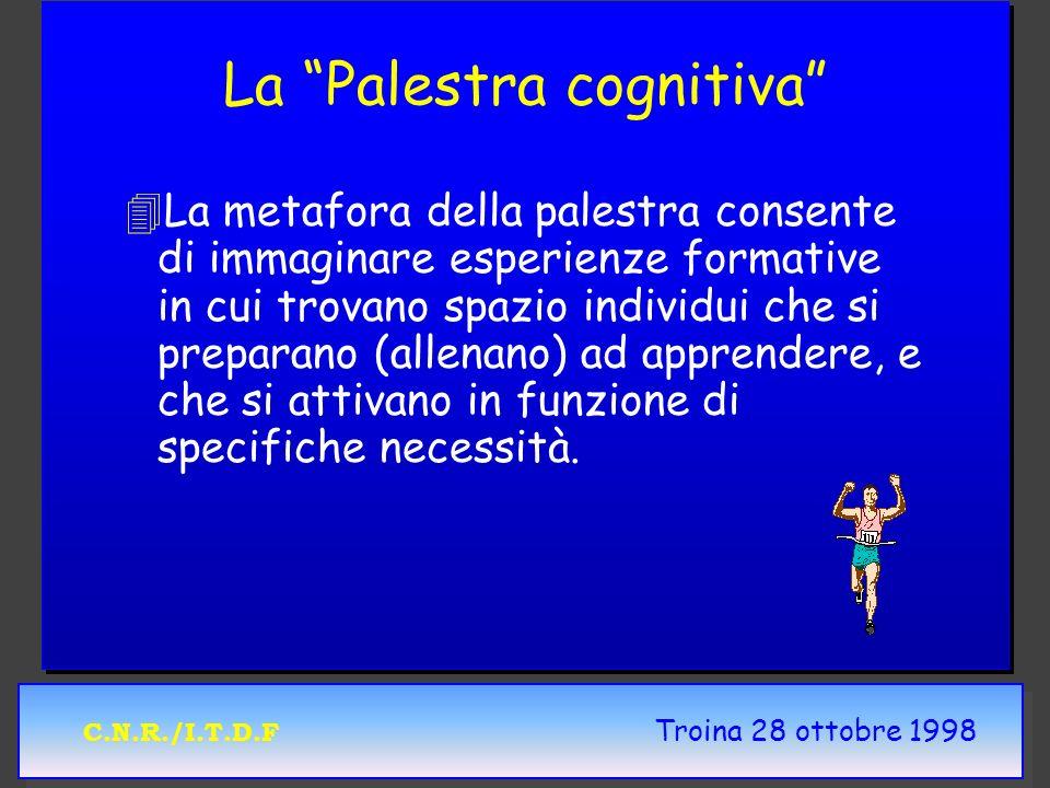 C.N.R./I.T.D.F Troina 28 ottobre 1998 La Palestra cognitiva 4 4La metafora della palestra consente di immaginare esperienze formative in cui trovano s