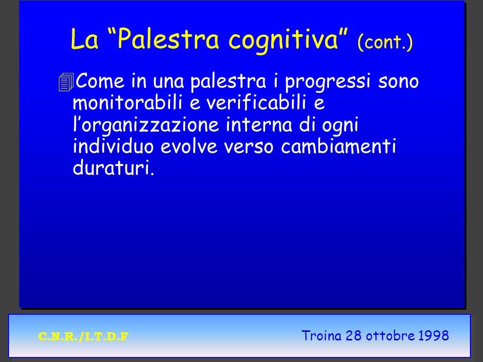 C.N.R./I.T.D.F Troina 28 ottobre 1998 La Palestra cognitiva (cont.) 4 4Come in una palestra i progressi sono monitorabili e verificabili e lorganizzazione interna di ogni individuo evolve verso cambiamenti duraturi.