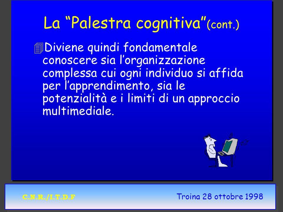 C.N.R./I.T.D.F Troina 28 ottobre 1998 La Palestra cognitiva (cont.) 4 4Diviene quindi fondamentale conoscere sia lorganizzazione complessa cui ogni individuo si affida per lapprendimento, sia le potenzialità e i limiti di un approccio multimediale.