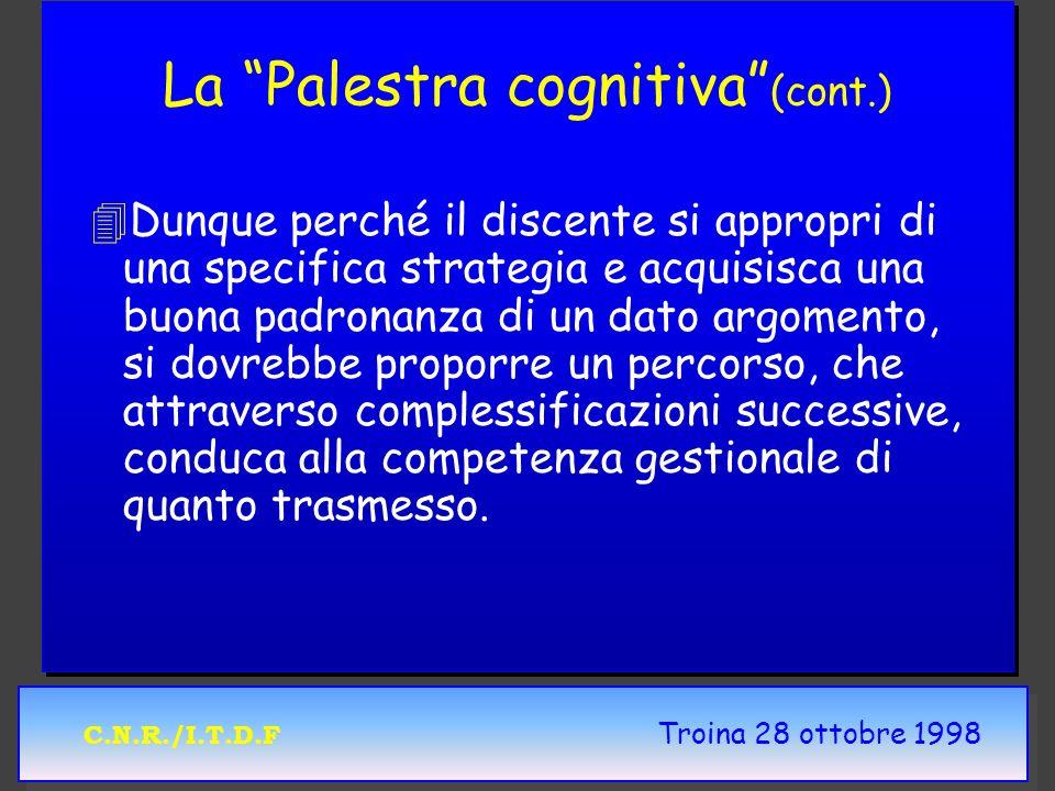C.N.R./I.T.D.F Troina 28 ottobre 1998 La Palestra cognitiva (cont.) 4 4Dunque perché il discente si appropri di una specifica strategia e acquisisca una buona padronanza di un dato argomento, si dovrebbe proporre un percorso, che attraverso complessificazioni successive, conduca alla competenza gestionale di quanto trasmesso.