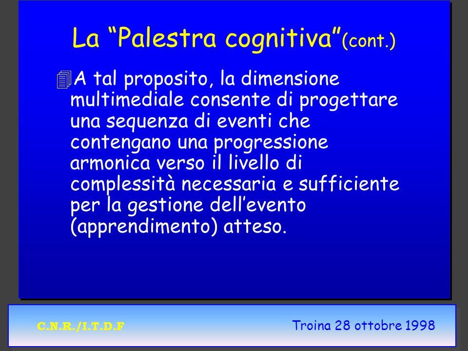 C.N.R./I.T.D.F Troina 28 ottobre 1998 La Palestra cognitiva (cont.) 4 4A tal proposito, la dimensione multimediale consente di progettare una sequenza di eventi che contengano una progressione armonica verso il livello di complessità necessaria e sufficiente per la gestione dellevento (apprendimento) atteso.