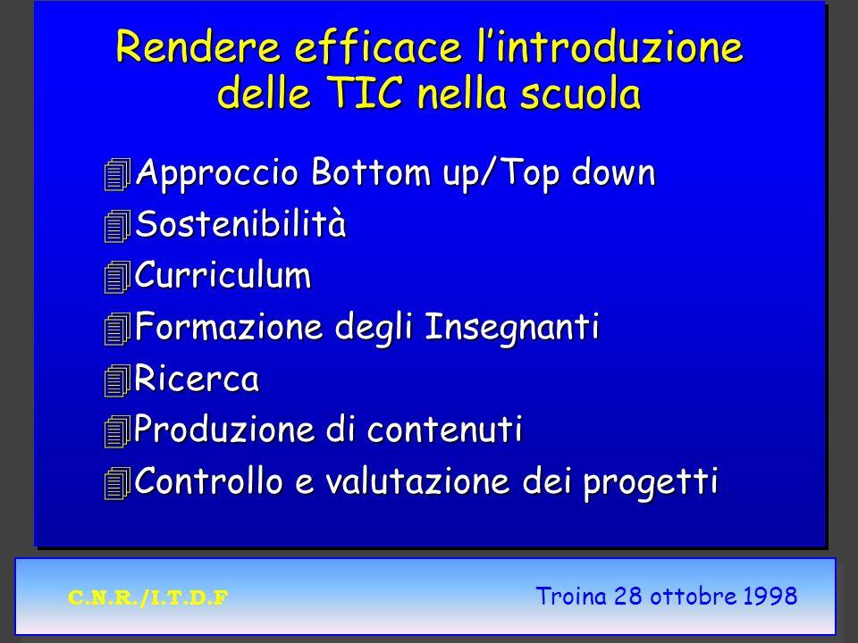 C.N.R./I.T.D.F Troina 28 ottobre 1998 Rendere efficace lintroduzione delle TIC nella scuola 4Approccio Bottom up/Top down 4Sostenibilità 4Curriculum 4