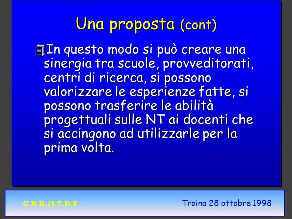 C.N.R./I.T.D.F Troina 28 ottobre 1998 Una proposta (cont) 4In questo modo si può creare una sinergia tra scuole, provveditorati, centri di ricerca, si