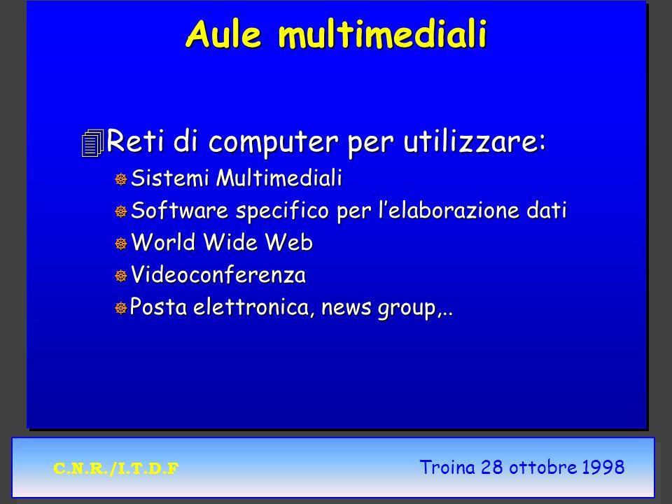C.N.R./I.T.D.F Troina 28 ottobre 1998 Aule multimediali 4Reti di computer per utilizzare: ] Sistemi Multimediali ] Software specifico per lelaborazion