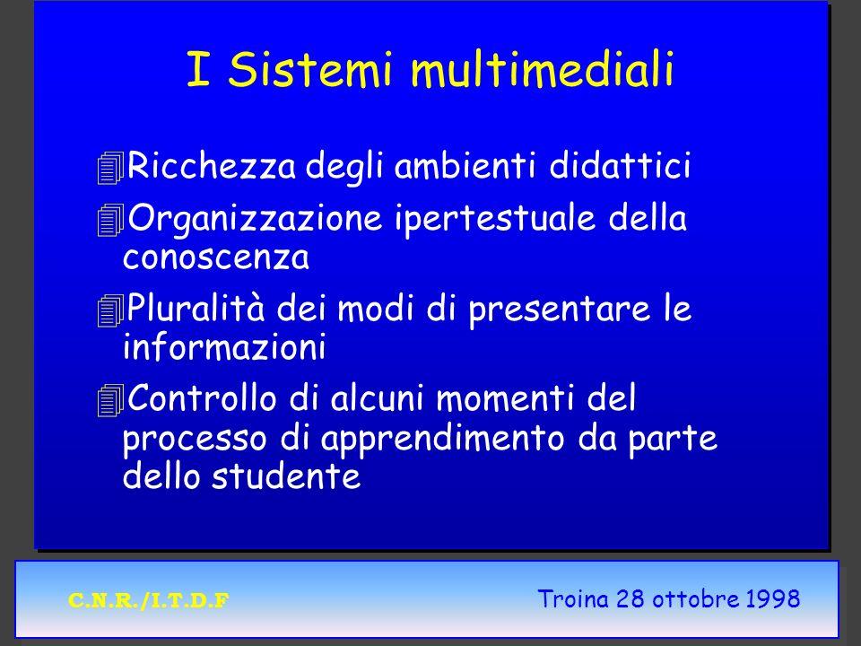 C.N.R./I.T.D.F Troina 28 ottobre 1998 I Sistemi multimediali 4 4Ricchezza degli ambienti didattici 4 4Organizzazione ipertestuale della conoscenza 4 4Pluralità dei modi di presentare le informazioni 4 4Controllo di alcuni momenti del processo di apprendimento da parte dello studente