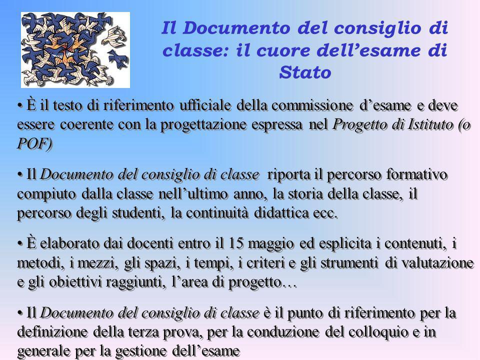 È il testo di riferimento ufficiale della commissione desame e deve essere coerente con la progettazione espressa nel Progetto di Istituto (o POF) Il