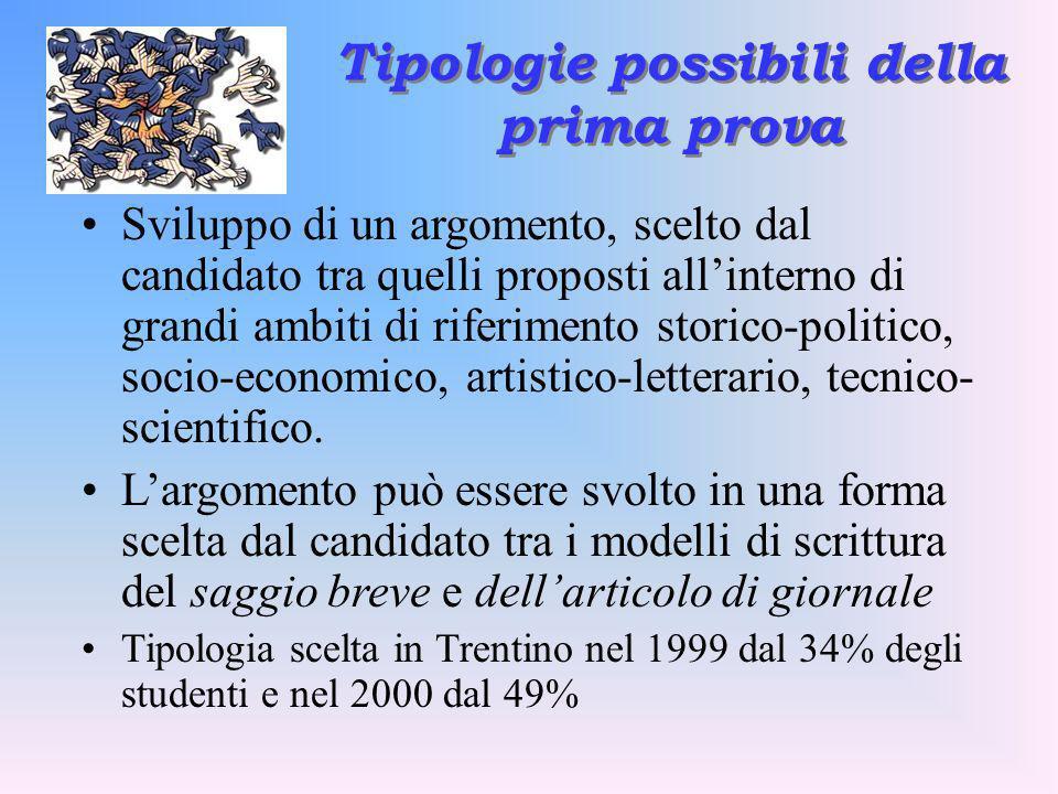 Tipologie possibili della prima prova Sviluppo di un argomento, scelto dal candidato tra quelli proposti allinterno di grandi ambiti di riferimento st