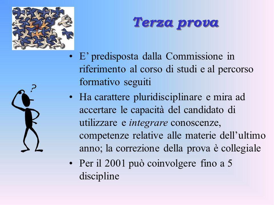 Terza prova E predisposta dalla Commissione in riferimento al corso di studi e al percorso formativo seguiti Ha carattere pluridisciplinare e mira ad