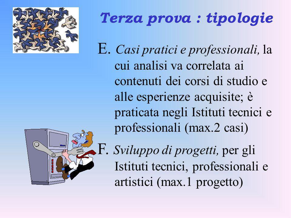 E. Casi pratici e professionali, la cui analisi va correlata ai contenuti dei corsi di studio e alle esperienze acquisite; è praticata negli Istituti