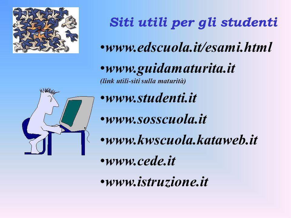 Siti utili per gli studenti www.edscuola.it/esami.html www.guidamaturita.it (link utili-siti sulla maturità) www.studenti.it www.sosscuola.it www.kwsc