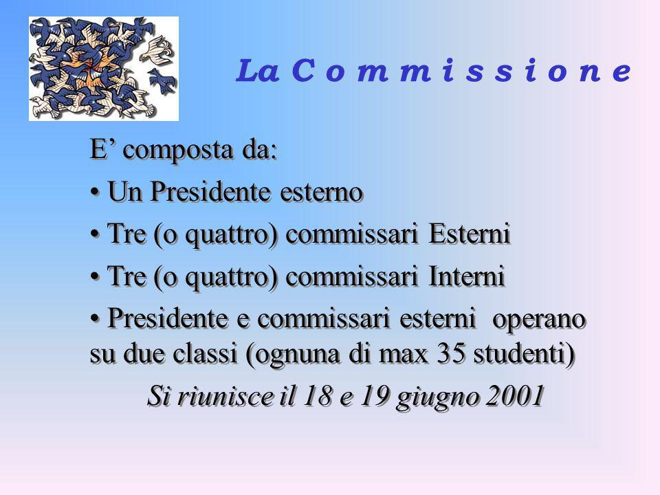 La C o m m i s s i o n e E composta da: Un Presidente esterno Tre (o quattro) commissari Esterni Tre (o quattro) commissari Interni Presidente e commi