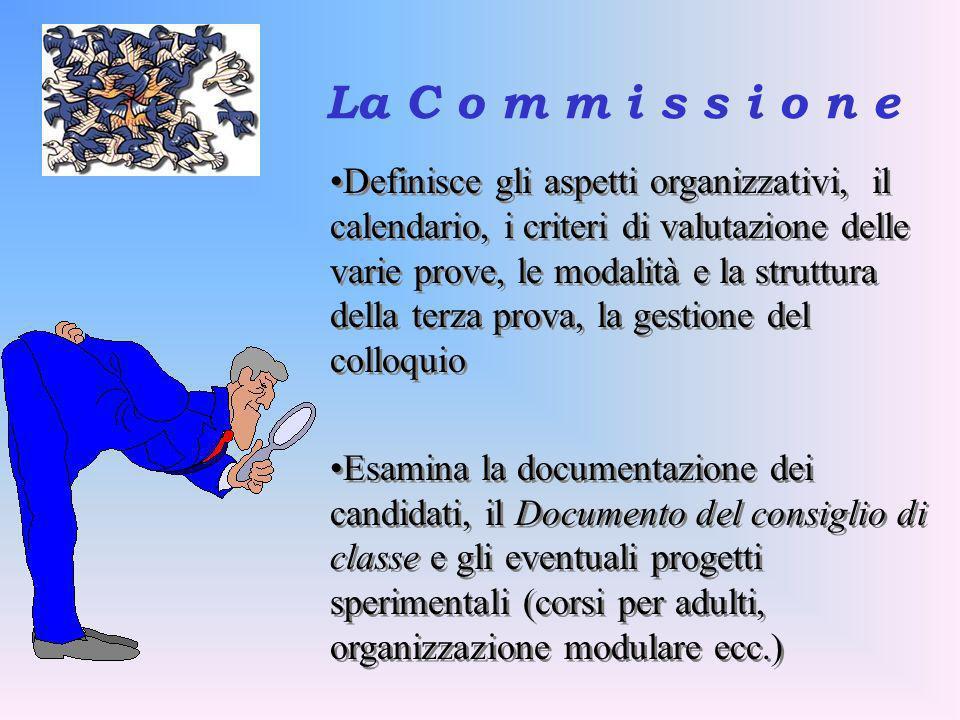 La C o m m i s s i o n e Definisce gli aspetti organizzativi, il calendario, i criteri di valutazione delle varie prove, le modalità e la struttura de