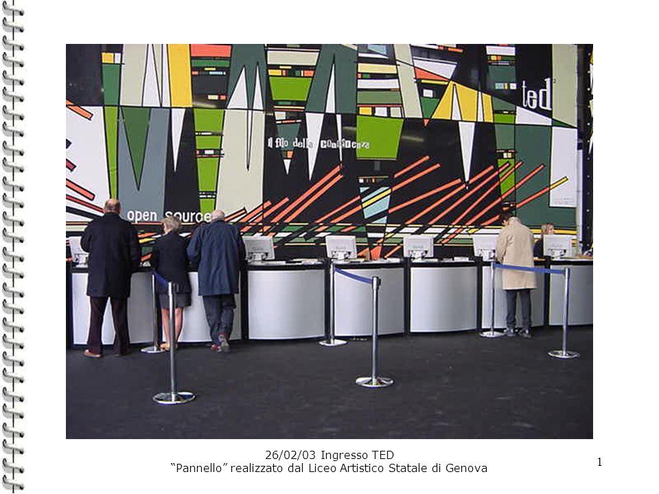 1 26/02/03 Ingresso TED Pannello realizzato dal Liceo Artistico Statale di Genova
