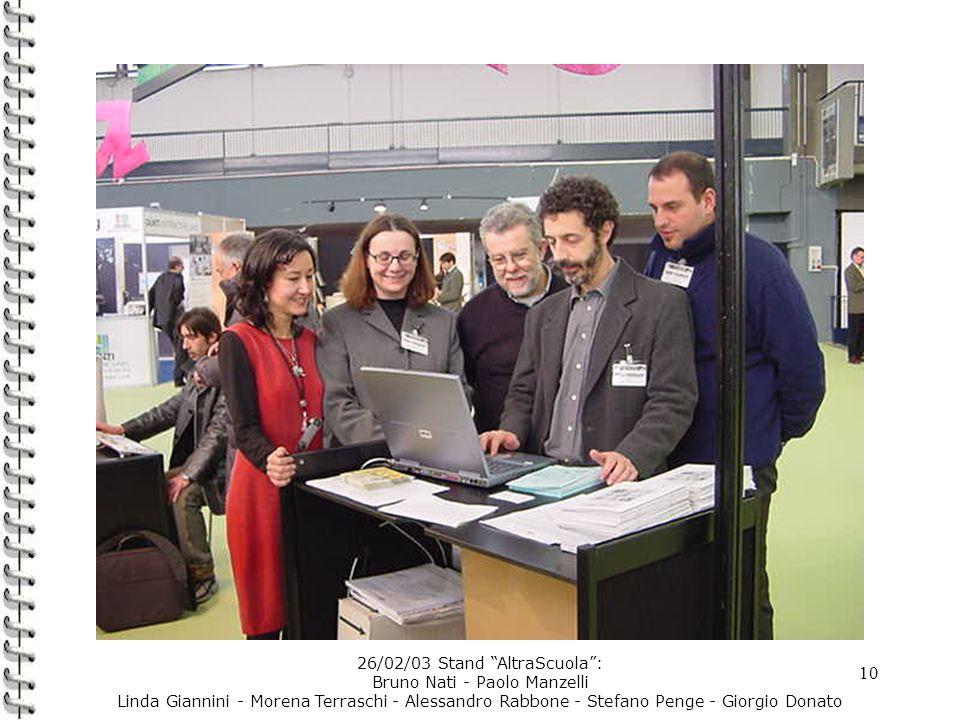 10 26/02/03 Stand AltraScuola: Bruno Nati - Paolo Manzelli Linda Giannini - Morena Terraschi - Alessandro Rabbone - Stefano Penge - Giorgio Donato