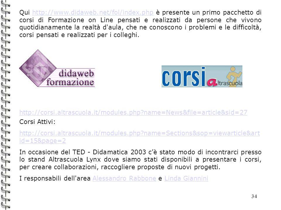 34 Qui http://www.didaweb.net/fol/index.php è presente un primo pacchetto di corsi di Formazione on Line pensati e realizzati da persone che vivono qu