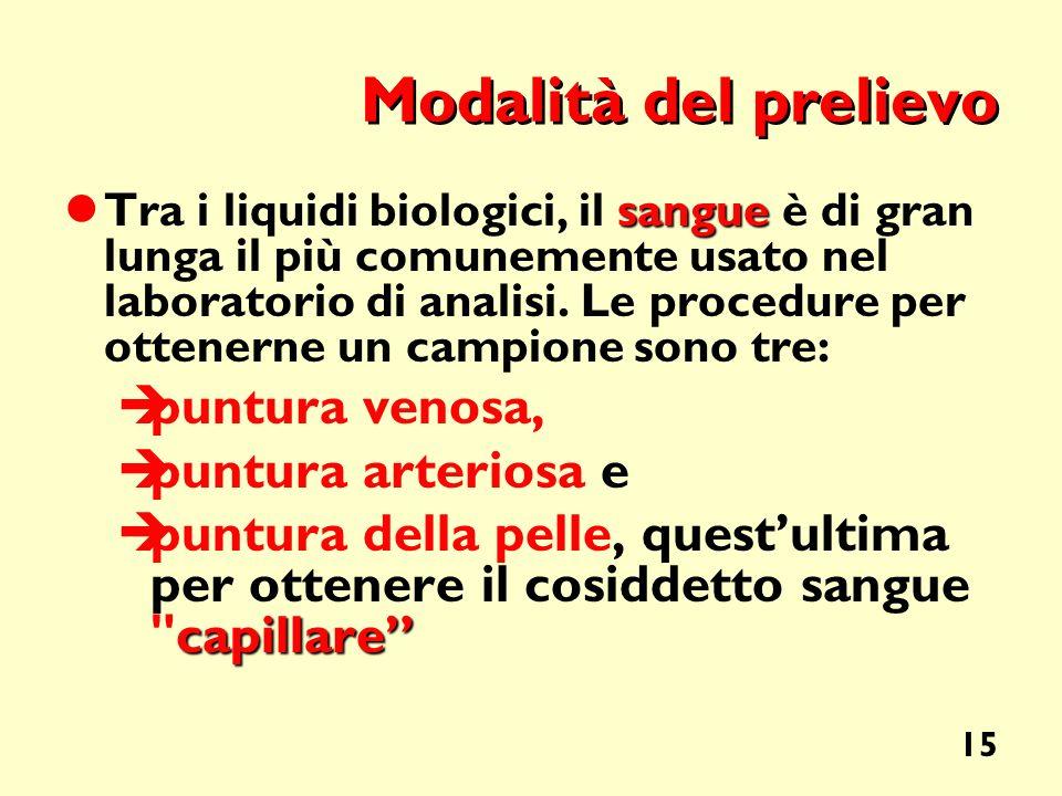 15 Modalità del prelievo sangue Tra i liquidi biologici, il sangue è di gran lunga il più comunemente usato nel laboratorio di analisi. Le procedure p