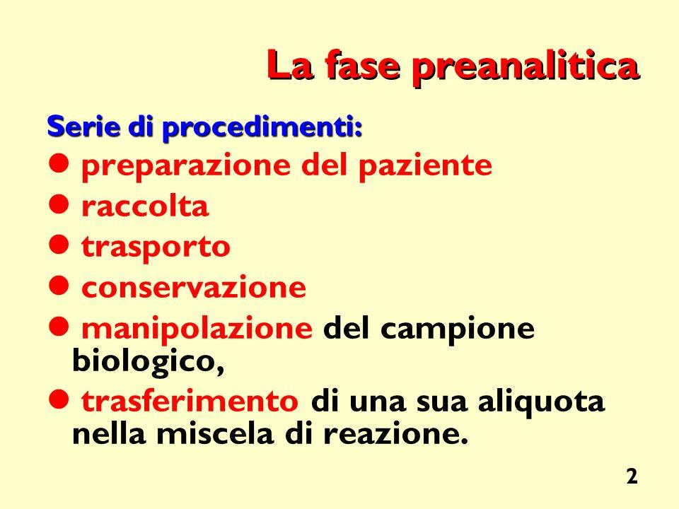 2 La fase preanalitica Serie di procedimenti: preparazione del paziente raccolta trasporto conservazione manipolazione del campione biologico, trasfer