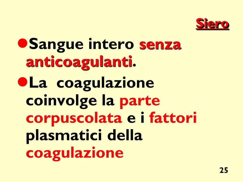 25 SieroSiero senza anticoagulanti Sangue intero senza anticoagulanti. La coagulazione coinvolge la parte corpuscolata e i fattori plasmatici della co