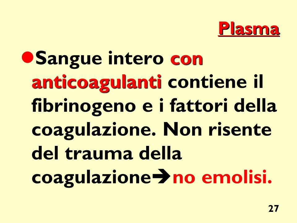 27 Plasma con anticoagulanti Sangue intero con anticoagulanti contiene il fibrinogeno e i fattori della coagulazione. Non risente del trauma della coa