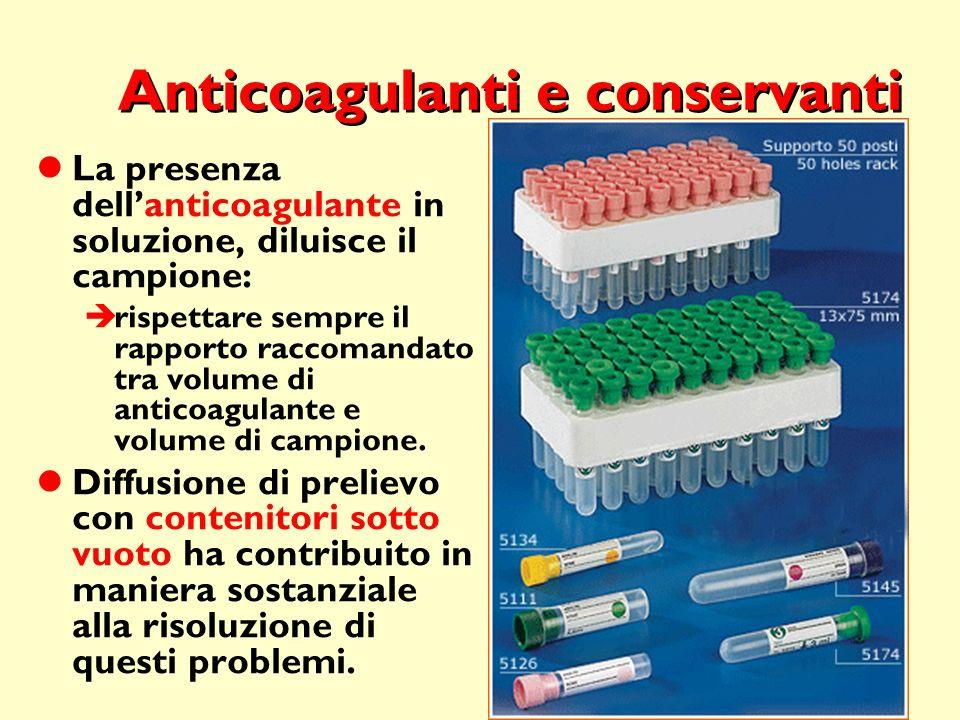 36 Anticoagulanti e conservanti La presenza dellanticoagulante in soluzione, diluisce il campione: rispettare sempre il rapporto raccomandato tra volu