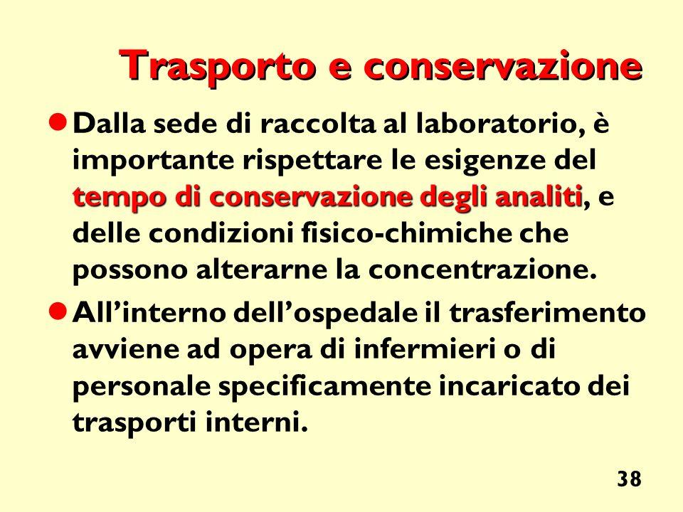38 Trasporto e conservazione tempo di conservazione degli analiti Dalla sede di raccolta al laboratorio, è importante rispettare le esigenze del tempo