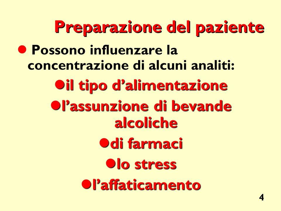 4 Preparazione del paziente Possono influenzare la concentrazione di alcuni analiti: il tipo dalimentazione il tipo dalimentazione lassunzione di beva