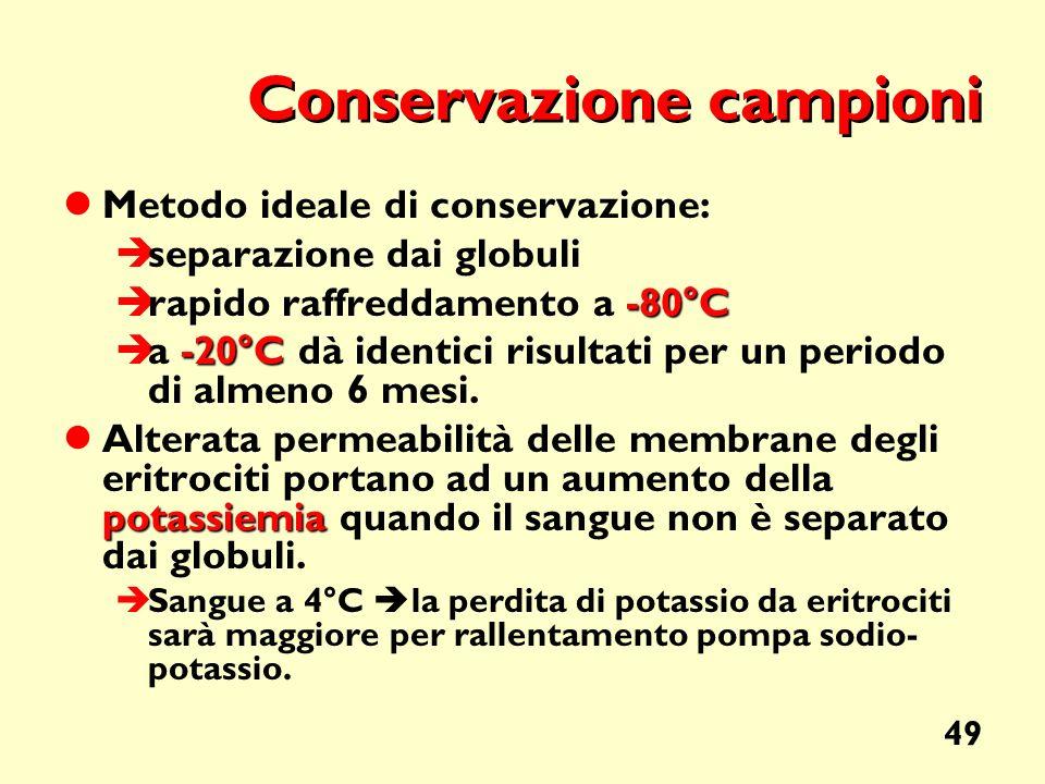 49 Conservazione campioni Metodo ideale di conservazione: separazione dai globuli -80°C rapido raffreddamento a -80°C -20°C a -20°C dà identici risult