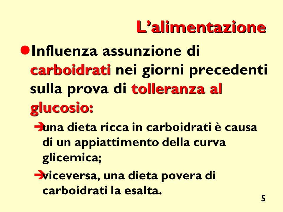 5 Lalimentazione carboidrati tolleranza al glucosio: Influenza assunzione di carboidrati nei giorni precedenti sulla prova di tolleranza al glucosio: