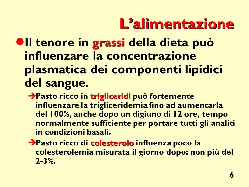 6 Lalimentazione grassi Il tenore in grassi della dieta può influenzare la concentrazione plasmatica dei componenti lipidici del sangue. trigliceridi