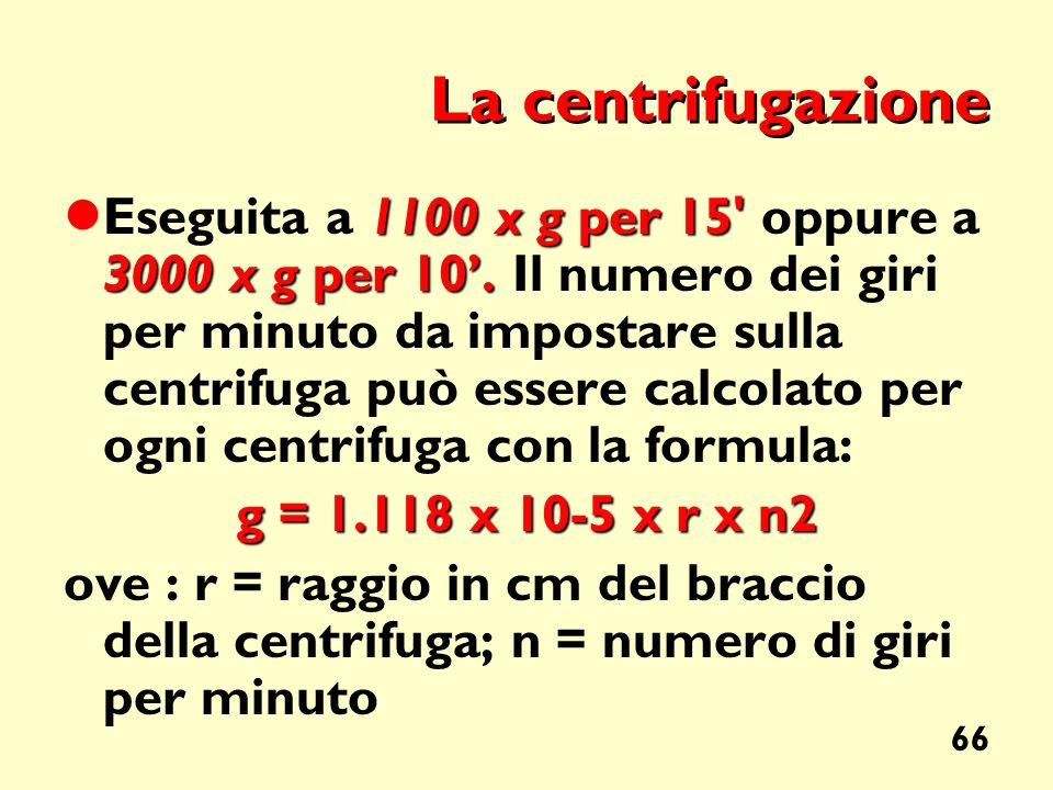 66 La centrifugazione 1100 x g per 15' 3000 x g per 10. Eseguita a 1100 x g per 15' oppure a 3000 x g per 10. Il numero dei giri per minuto da imposta