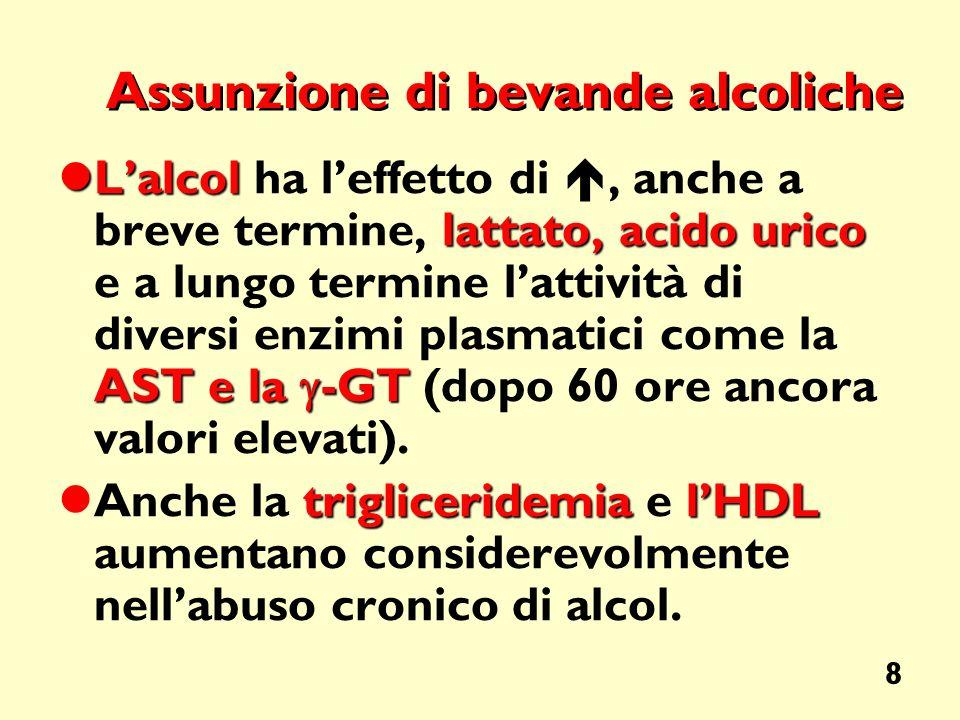 8 Assunzione di bevande alcoliche Lalcol lattato, acidourico AST e la -GT Lalcol ha leffetto di, anche a breve termine, lattato, acido urico e a lungo