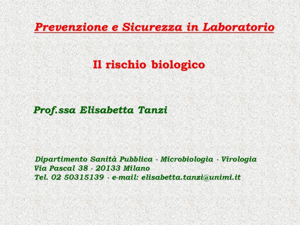 Il rischio biologico Prof.ssa Elisabetta Tanzi Prof.ssa Elisabetta Tanzi Dipartimento Sanità Pubblica - Microbiologia - Virologia Dipartimento Sanità