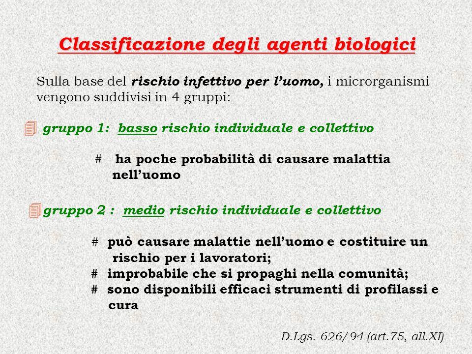 Classificazione degli agenti biologici D.Lgs. 626/94 (art.75, all.XI) Sulla base del rischio infettivo per luomo, i microrganismi vengono suddivisi in