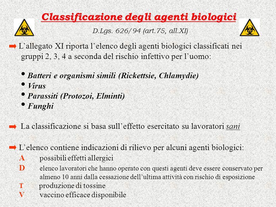 Classificazione degli agenti biologici Classificazione degli agenti biologici D.Lgs. 626/94 (art.75, all.XI) Lallegato XI riporta lelenco degli agenti